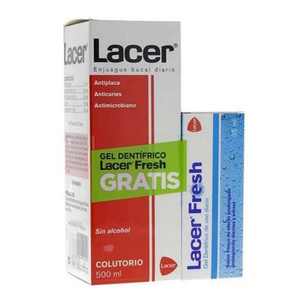 Lacer enjuague sin alcohol colutorio 500ml + gel lacer fresh 35ml