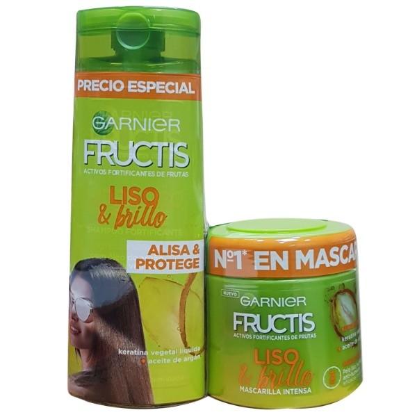 Fructis Liso & Brillo Mascarilla 300 ml + Acondicionador 250 ml PACK AHORRO